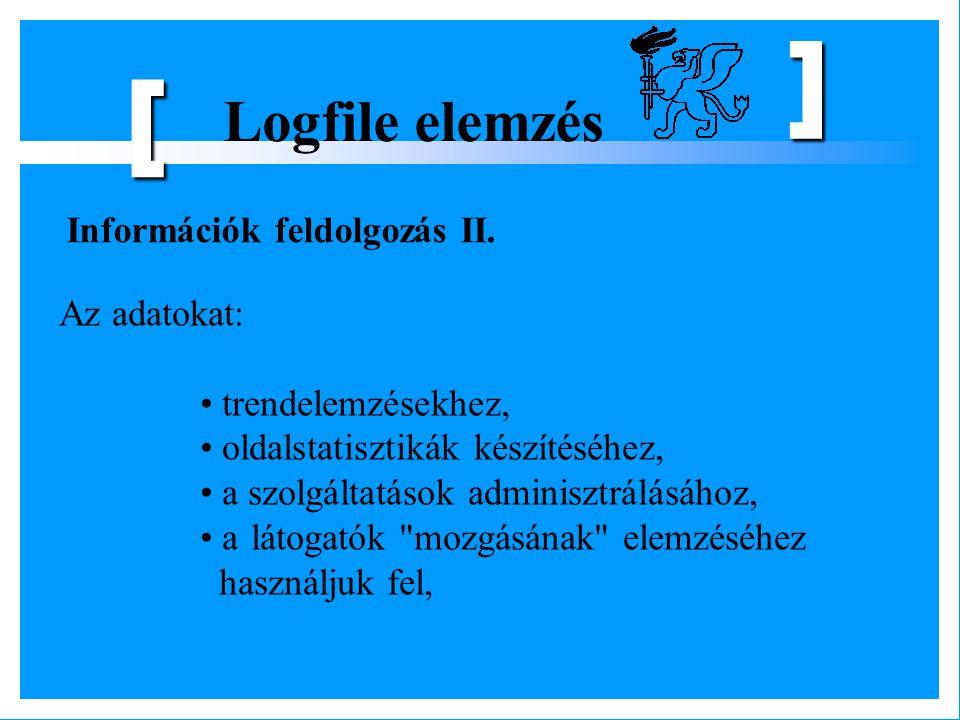 [ Logfile elemzés Információk feldolgozás II. Az adatokat: